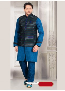 Blue Latest Punjabi Fashion Silk Kurta Pajama With Designer Jacket