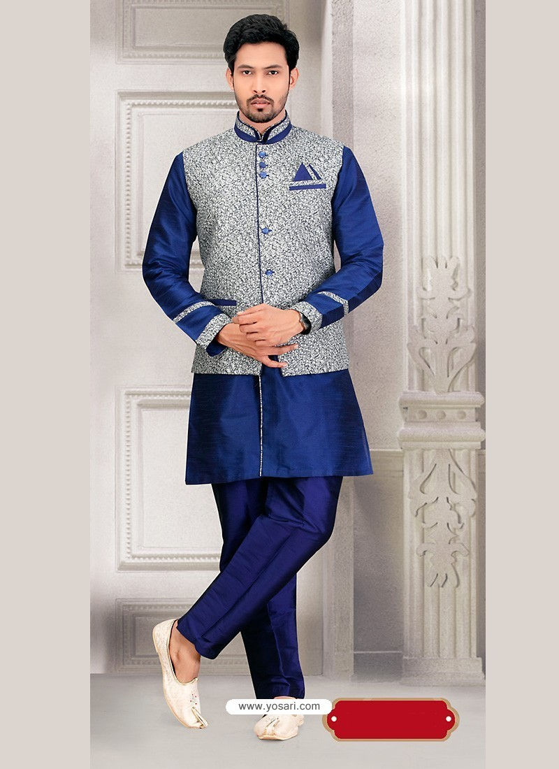Ready Made Festival Wear Indian Jacket Kurta Pajama In Blue