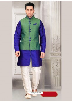 Blue Eid Wear Pakistani Kurta Pajama With Green Jacket