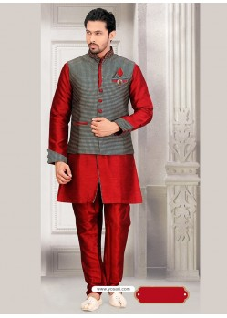 Maroon Dupion Silk Punjabi Kurta Pajama With Checkered Jacket