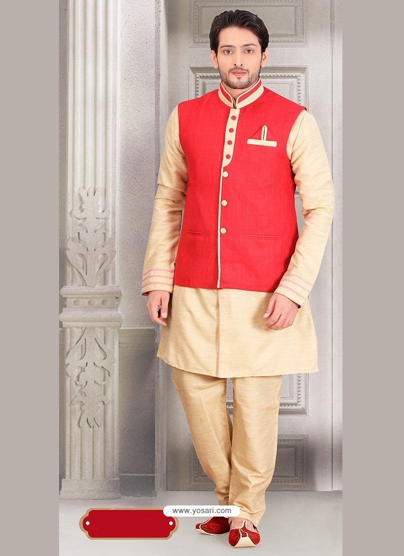 Beige Dupion Silk Indian Designer Kurta Pajama With Jacket