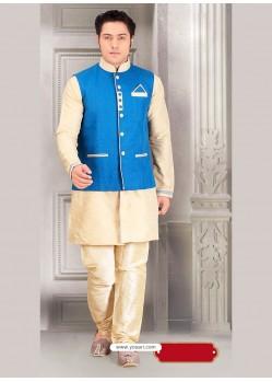 Beige Jacket Style Indian Punjabi Kurta Pajama In Dupion Silk
