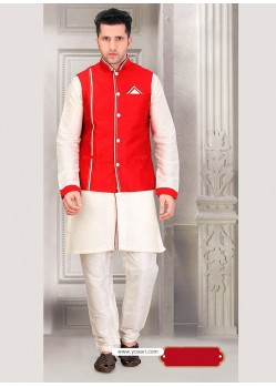 Off White Ready Made Punjabi Kurta Pajama With Nehru Koti