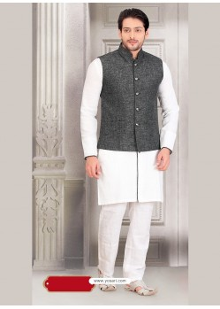 White Party Wear Cotton Kurta Payjama With Modi Jacket