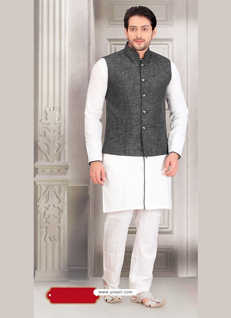 2fc8c244e2 Buy White Party Wear Cotton Kurta Payjama With Modi Jacket | Kurta ...