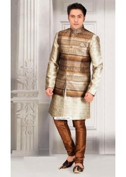 Cream Ready Made Pakistani Kurta Pajama With Jacket