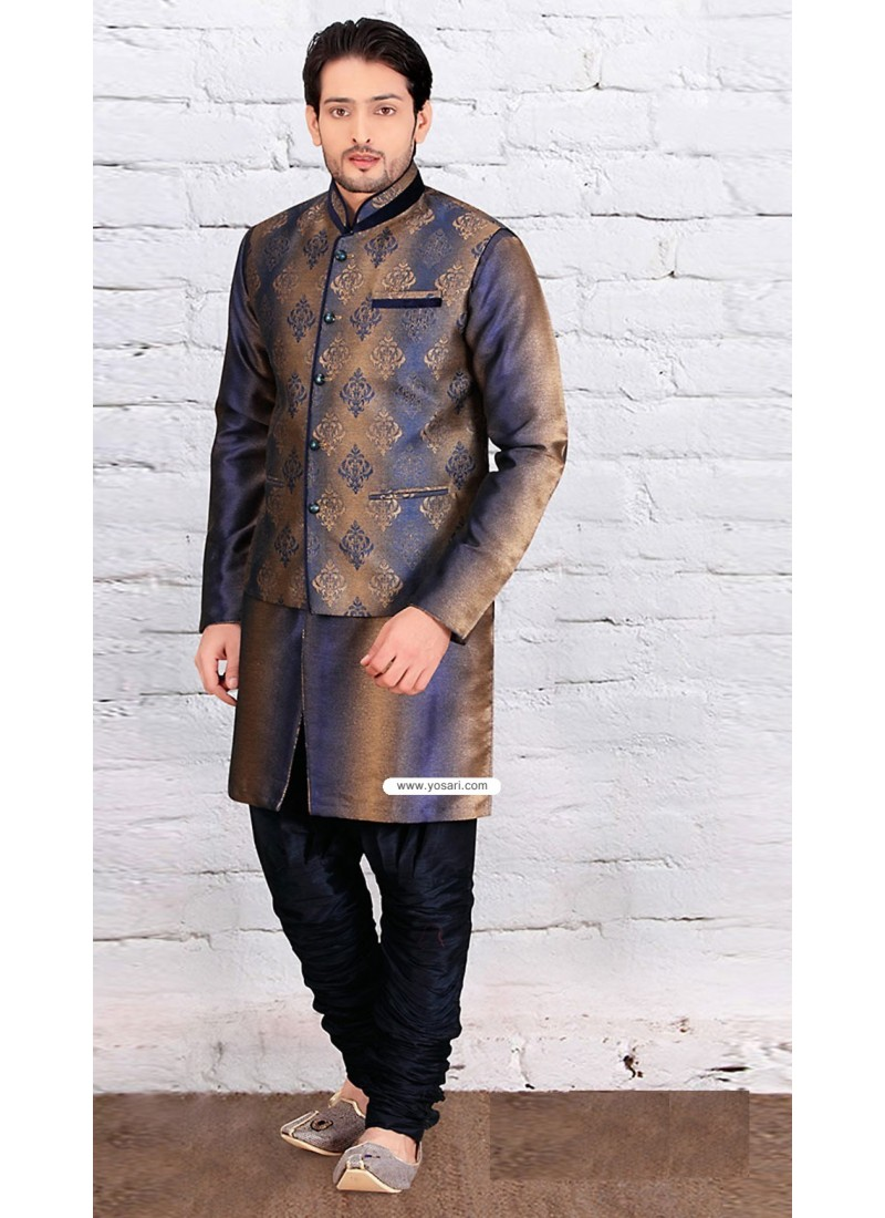 Brown Designer Wear Jacquard Kurta Payjama With Jacket