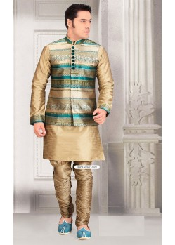 Gold Color Designer Eid Wear Kurta Pajama With Jacket