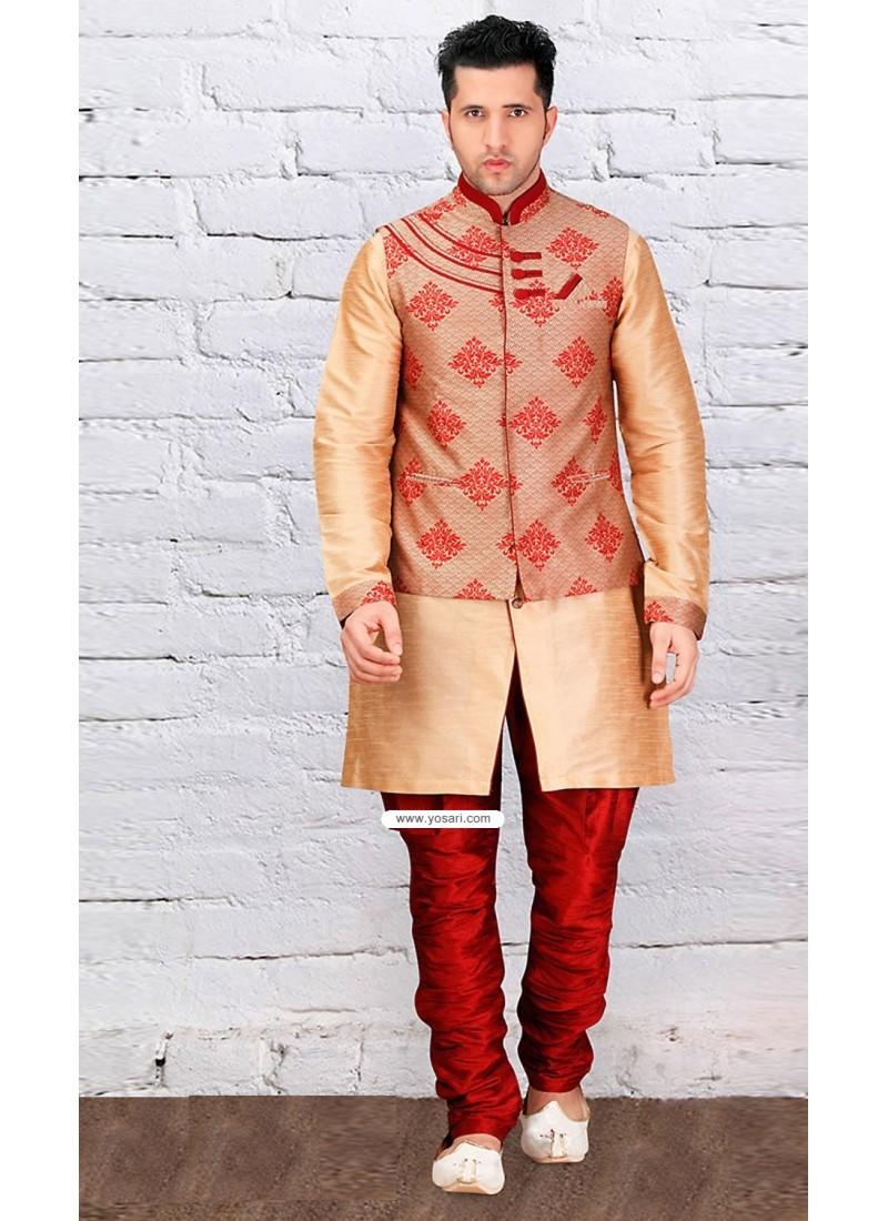 Beige Indowestern Style Indian Kurta Pajama With Jacket