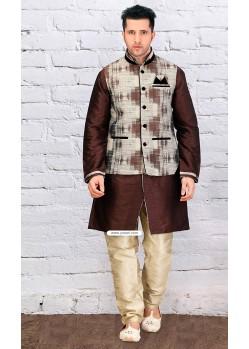 Coffee Dupion Silk Eid Wear Punjabi Kurta Pajama With Jacket