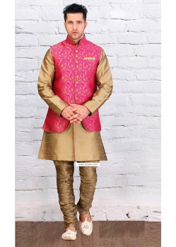 Gold Color Designer Wear Kurta Pajama With Pink Jacket