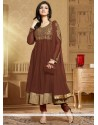 Phenomenal Brown Zari Work Anarkali Suit