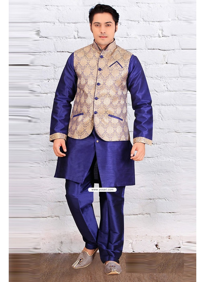 Blue Edi Wear Indian Raw Silk Kurta Pajama With Jacket