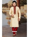 Cream Ethnic Indian Jacquard Kurta Pajama For Eid