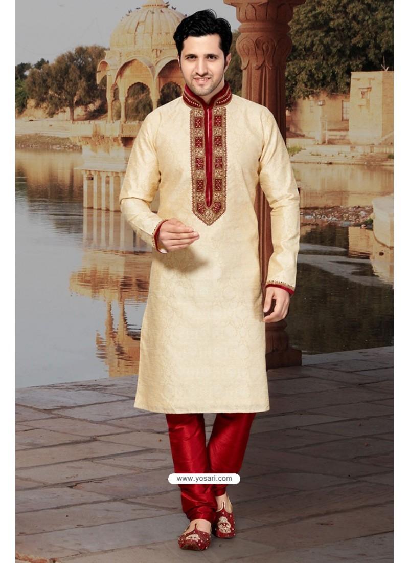 Cream Ethnic Indian Jacquard Kurta Pajama For Eid