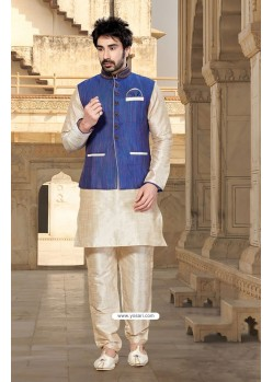 Cream Latest Jacket Style Designer Indian Punjabi Kurta Pajama