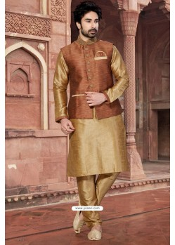 Gold Color Party Wear Silk Kurta Pajama With Modi Jacket