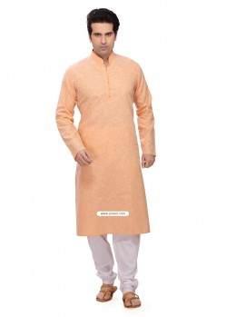 Orange Designer Cotton Kurta Pajama For Men
