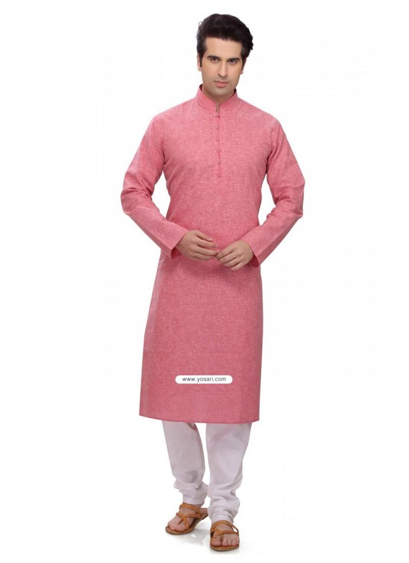 Pink Ready Made Indian Kurta Pajama In Cotton