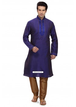 Violet Art Silk Churidar Kurta Pajama For Men