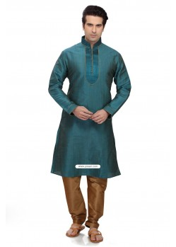Ready Made Teal Blue Art Silk Designer Kurta Pajama