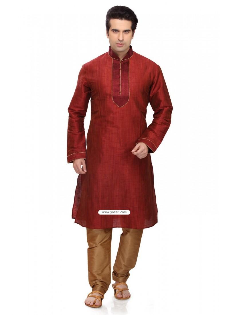 284612f6a6d Buy Maroon Ready Made Punjabi Kurta Pajama In Art Silk