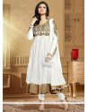 Off White Soft Net Anarkali Salwar Suit