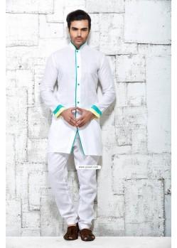 White Latest Shirt Style Indian Kurta Pajama For Festivals