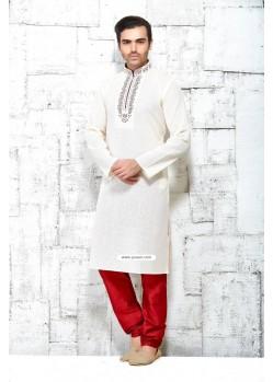 Off White Designer Art Silk Kurta Pajama For Party Wear