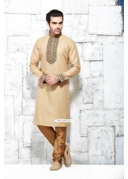 Beige Indian Mens Kurta Pyjama In Khadi Silk
