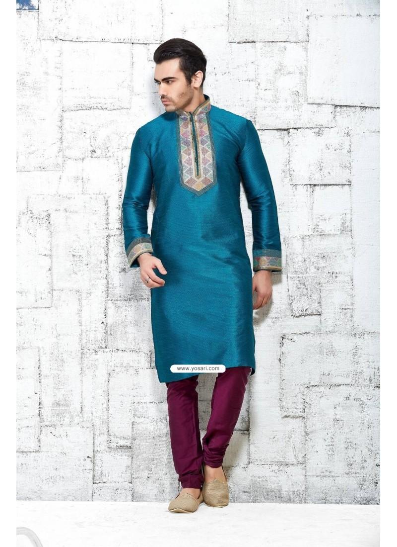 Tiffany Blue Punjabi Ethnic Wear Kurta Pajama In Silk