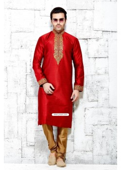 Red Designer Kurta Pajama For Wedding In Pure Silk