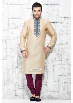 Beige Designer Silk Churidar Kurta Pajama For Men