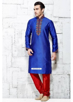 Blue Designer Wedding Wear Punjabi Kurta Pajama In Silk