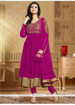 Magenta Embroidery Work Anarkali Suit