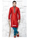 Wedding Wear Designer Indian Red Silk Kurta With Blue Pajama