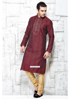 Maroon Jacquard Silk Designer Punjabi Kurta Pajama