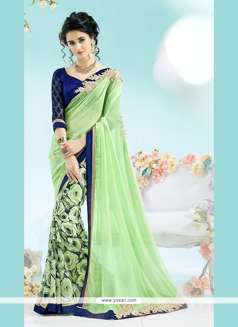 Thrilling Green Print Work Faux Chiffon Casual Saree