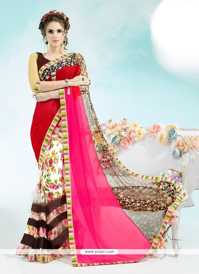 Delightful Multi Colour Print Work Georgette Casual Saree