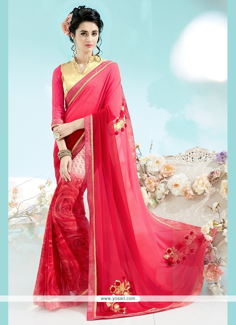 Preferable Hot Pink Georgette Casual Saree