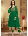 Blooming Green Soft Net Anarkali Suit