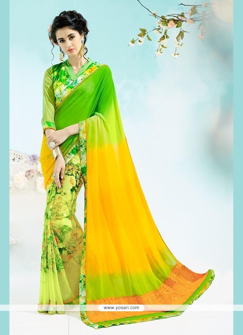 Print Georgette Printed Saree In Multi Colour