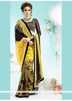 Dashing Multi Colour Faux Georgette Printed Saree