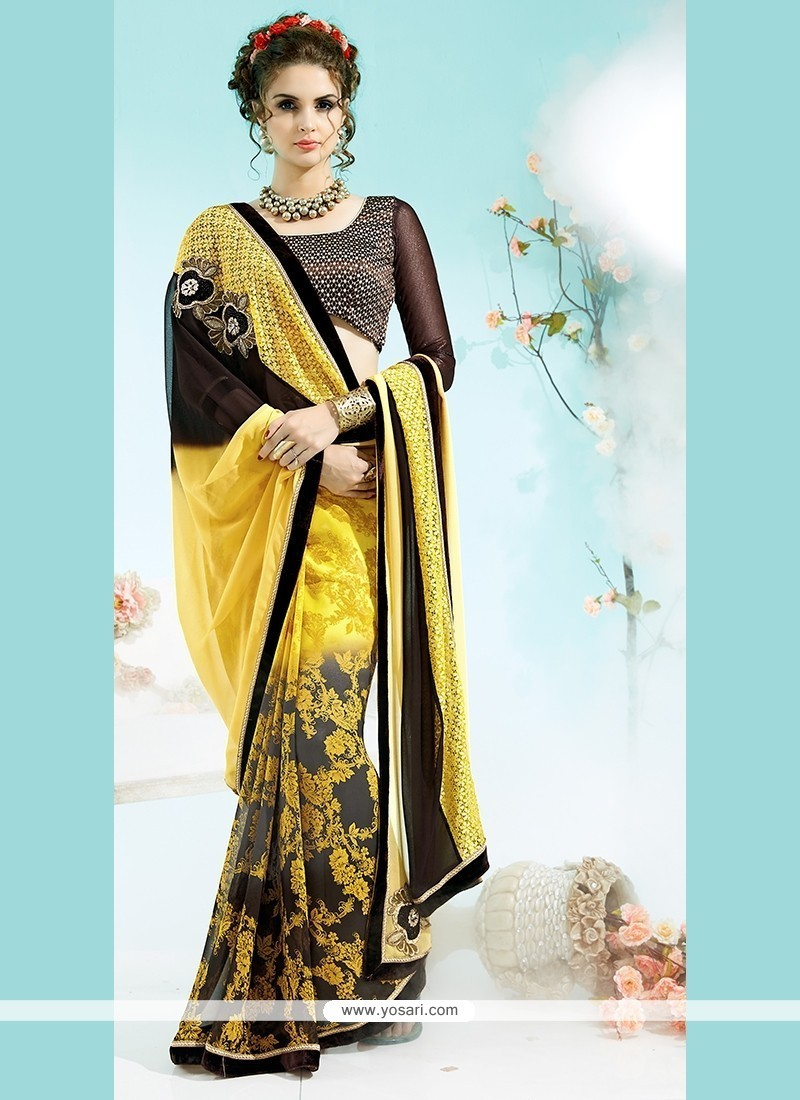 Dashing Multi Colour Faux Georgette Printed Saree