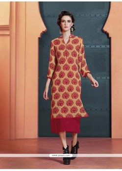 Awesome Print Work Party Wear Kurti