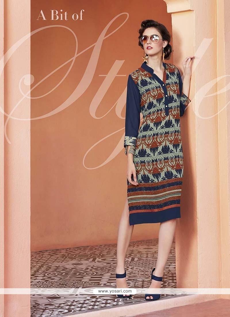 Simplistic Print Work Georgette Multi Colour Party Wear Kurti