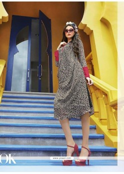 Girlish Multi Colour Print Work Party Wear Kurti
