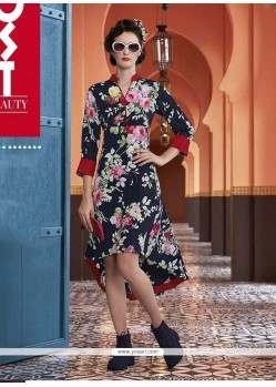 Titillating Faux Crepe Multi Colour Print Work Party Wear Kurti