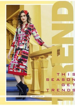 Picturesque Print Work Multi Colour Party Wear Kurti
