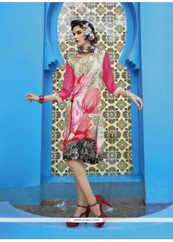 Classy Faux Crepe Multi Colour Party Wear Kurti
